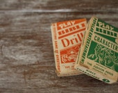 SALE - Vintage Flash Cards - Retro Bible Drill Game Cards - Green and Orange Boxes - Homeschool Preschool - Vintage Library Educational Toys