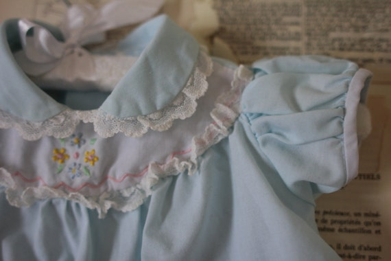 SALE - Vintage Blue Dress Retro Ruffle Flower Shirt with Pocket and White Collar Kid Baby Girl Clothing Easter Dress