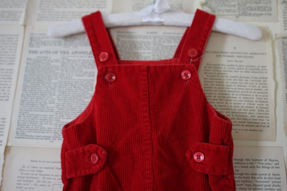Vintage Red Overalls Retro Kids Coveralls Red Corduroy