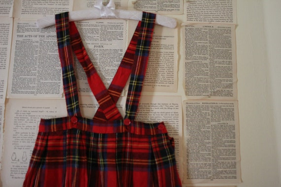 Vintage Girls Plaid Jumper - Retro Red and Blue Skirt and Suspenders - Size 4 Toddler - School Girl Outfit - Jumpsuit Uniform