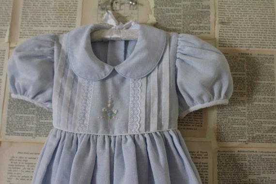 Vintage Baby Blue Dress - Retro Tiny Pink Flower Girl - White Lace Collar - Little Girl Clothes Clothing - Size 3T - Toddler Preschool