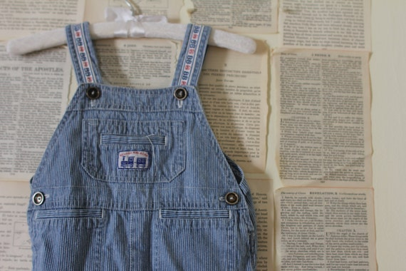 SALE Vintage Train Conductor Overalls - Retro Pinstripe Denim & White Kids Overalls - Shortalls - Railroad Shorty Overalls -  Size 12 Months