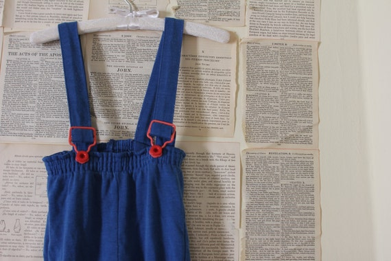 Vintage Kids Blue Overalls - Retro Red Cuffed Children's Romper Coveralls - Little Boy Suspender Pants Clothes - Size 3T - 4T