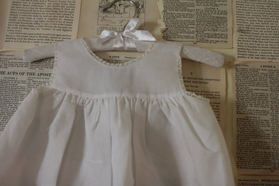 Vintage White Baby Dress - Retro White Christening Baptism Gown - Feltman Bros Vintage Baby Girls Clothing - 12 Months