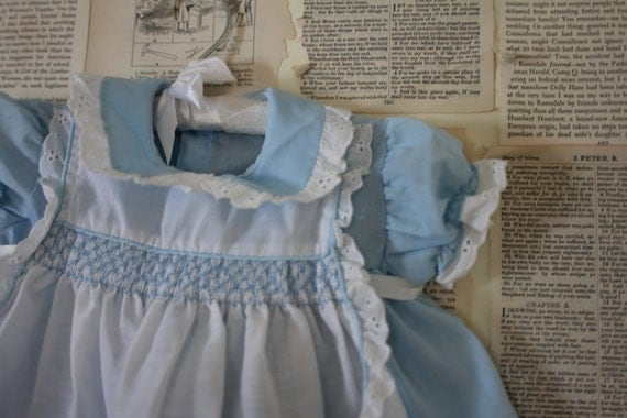 Vintage Baby Apron Dress - Retro Blue White Lace Smocking Pinafore Apron Dress - Baby Girl Clothes Clothing - 1st Birthday Outfit