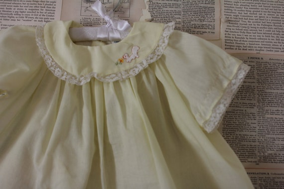 Vintage Yellow Baby Dress - Retro Little Girls Dress - 1st Birthday Dress Party Outfit - Girls Clothing Clothes - Baby Shower Gift