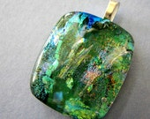 Gorgeous Greens   Fused Dichroic Glass Pendant Necklace