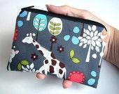Zipper Pouch Giraffe Garden in Gray  ECO Friendly Padded Coin Purse Gadget Case Bag