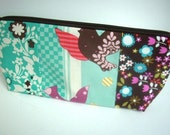 50% OFF SALE Birds Cosmetic Bag Large Flat Bottom Zipper Pouch Camera Case (Padded) OOAK Birds Patchwork