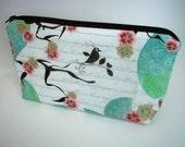 Cosmetic Bag Large Flat bottom zipper pouch Gaget Case (Padded) - Aqua Bird Blush LIMITED