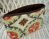 Zipper Pouch Bag Orange Medallion Large Flat bottom zipper pouch Cosmetic bag (Padded)