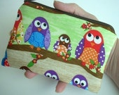 Owls in Line Little Zipper Pouch Coin Purse Gadget case ECO Friendly Padded - Limited item