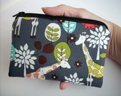 Zipper Pouch Giraffe Garden in Gray  ECO Friendly Padded Coin Purse Gadget Case Bag