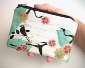 Little Zipper Pouch Coin purse Gadget case (Padded) - Aqua Bird Blush