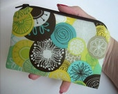 SALE Brook Circles Zipper Pouch Little Coin Purse Gadget case Padded Eco Friendly