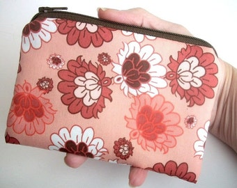 Little Zipper pouch Coin purse ECO Friendly Padded Salmon Botanica