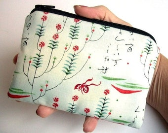 Coin Purse Zipper Pouch ECO Friendly Padded Rare Cho Writings Red