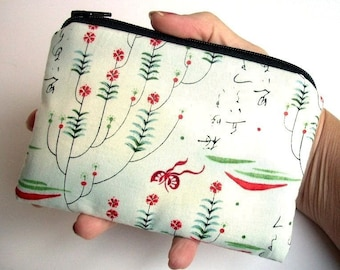 SALE Coin Purse Zipper Pouch ECO Friendly Padded Rare Cho Writings Red