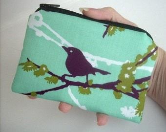 Zipper Coin Purse Zipper Pouch Sparrows on Aqua Blue ECO Friendly Padded Little coin purse