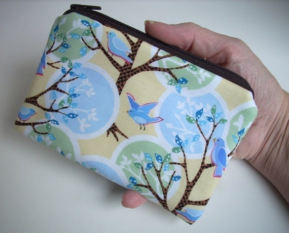 Little Zipper  pouch  Coin Purse Gadget Case (Padded)-Feather Friends in Trees
