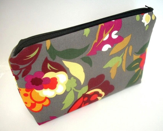 Cosmetic Bag Large Padded Flat bottom zipper pouch  - Steel Garden