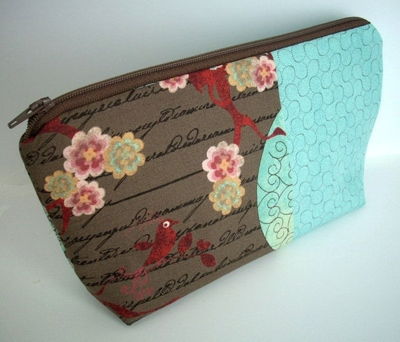 Large Zipper Pouch Flat bottom Make up Case Cosmetic Bag (Padded) - Double Aqua Bird Blush in brown