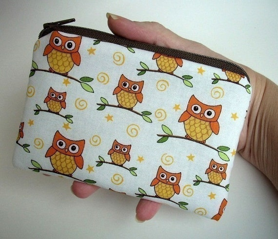 Owls Zipper Pouch Little Gadget Case Coin purse ECO Friendly Padded - Orange Owls on branches