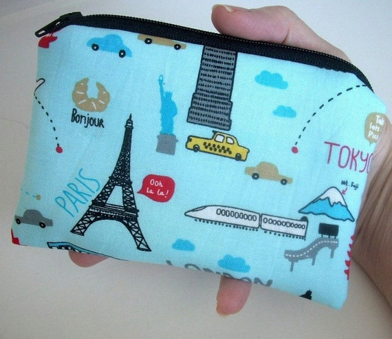 Blue Travel Time Little Zipper pouch coin purse Gadget Case ECO Friendly Padded
