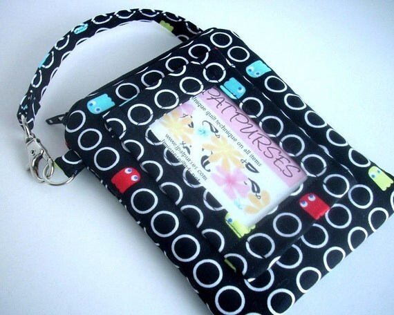 REDUCED 40% was 20 ID Window Wallet Gadget Case Double Padded  Zipper Pouch With Clip- ECO Friendly Pac Man