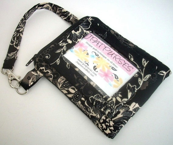 REDUCED 40% was 20 ID Window Wallet Gadget Case Padded Zipper Pouch With Clip- Eco Friendly  Zephyr in Black