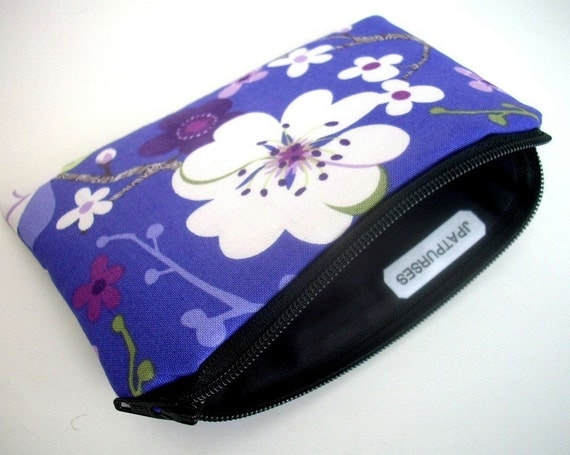 Sakura Little Zipper pouch Padded Coin Purse Gadget Case - NEW ECO Friendly Sakura Waterfall
