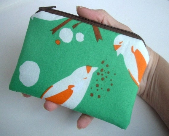 Rare Green Bird seed Coin Purse Zipper pouch Gadget Case (Padded)