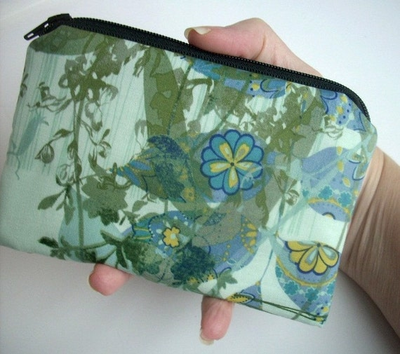 CLEARANCE Teal Padded Zipper bag  Little coin purse Gadget Case Eco Friendly Elegant Paris Hues in Teal