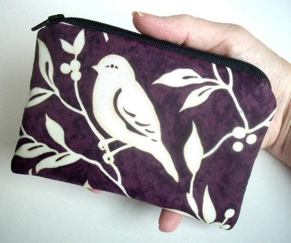 Bird Little Zipper pouch coin purse Gadget  Ipod Case (Padded) Ecru Bird on Plum Eco Friendly LIMITED