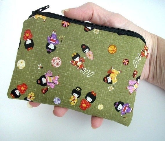 Kimono Girls Japanese Import Little Zipper Pouch ECO Friendly Padded Coin Purse LIMITED