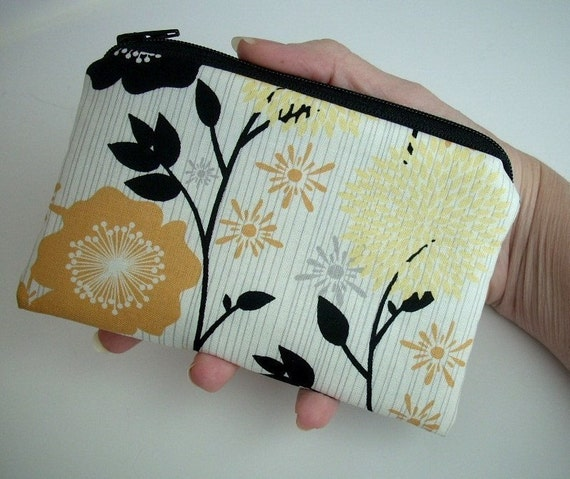 Gold Floral Little Zipper pouch Coin Purse Gadget Case ECO Friendly Padded LIMITED Item