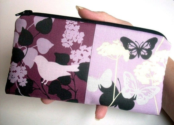 Bird Large Coin purse zipper pouch (Padded) Eco Friendly - NEW Orchid Bird Park Squares