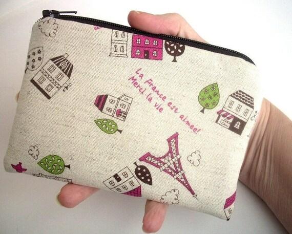 Coin Purse Zipper pouch Gadget Case (Padded) -  Paris Pink Eiffel Tower Linen Japanese Import ECO - Friendly