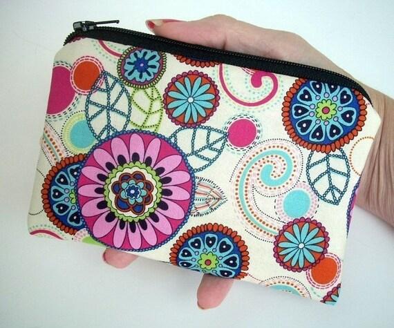 Retro Little Zipper pouch Coin purse Gadget Case ECO Friendly Padded - Dazzle Blooms