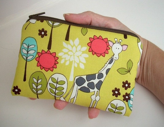 Coin Purse Giraffe Garden in Citron Yellow Little Zipper pouch Ipod Case ECO Friendly Padded
