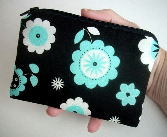 SALE Black Zipper Pouch Eco Friendly Little Coin Purse Gadget Case - Blue Blossom Jungle (Padded)