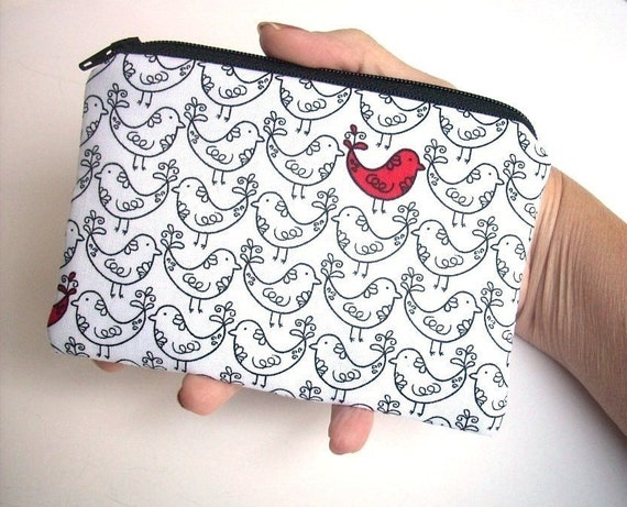 Zipper Pouch ECO-FRIENDLY Little coin purse Padded Ipod or  any Gadget Case - Red Bird LIMITED