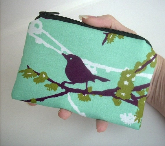 Zipper Pouch Sparrows on Aqua Blue ECO Friendly Padded Little coin purse
