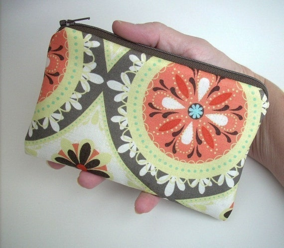 Little Zipper Pouch Coin Purse Gadget Case  ECO Frlendly Padded - Orange Medallion