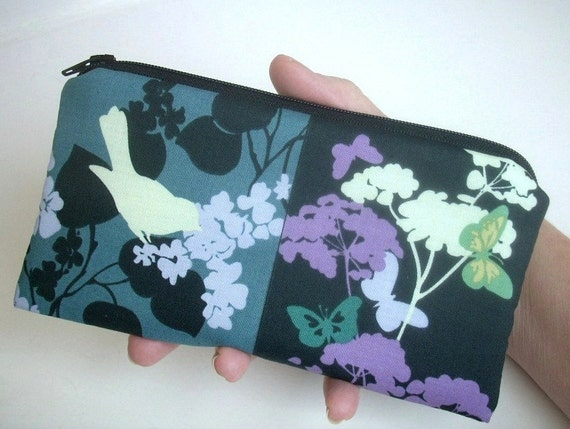 Teal Bird Large Coin purse zipper pouch (Padded) Eco Friendly - NEW Teal Black Bird Park Squares