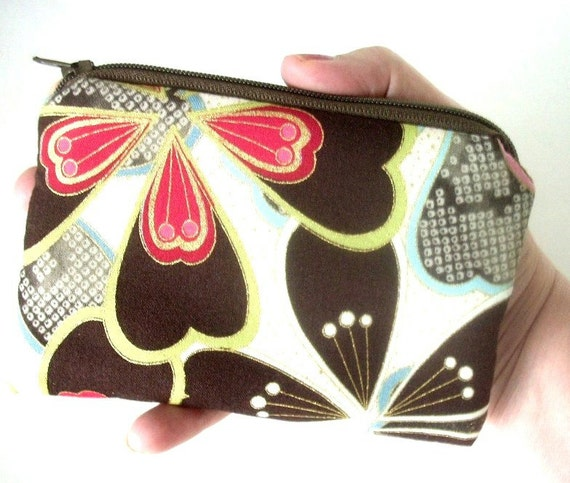 50% OFF SALE Eco Friendly Padded Coin Purse Zipper pouch Gadget Case Satsuki Gold Blooms