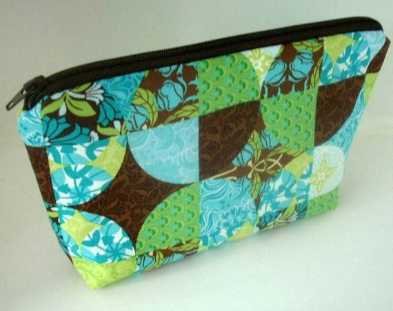 SALE 50% OFF Cosmetic Bag Large Padded Flat bottom Zipper Pouch  - NEW Piccadilly Blue