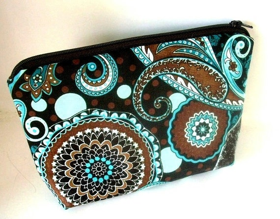 French Blues Cosmetic Bag Large Padded Flat bottom zipper pouch