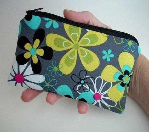 SALE Gray  Zipper Pouch Retro Far out Gray Little Zipper pouch Gadget case coin purse ECO Friendly Padded
