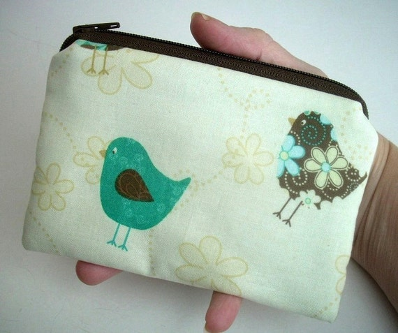 SALE Zipper Pouch ECO-FRIENDLY Little coin purse Padded Ipod or  any Gadget Case Flirty Birds